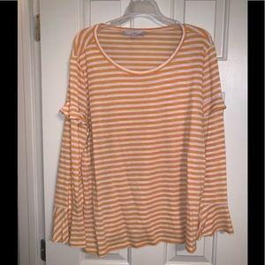 LOFT Striped bell sleeve long sleeve  shirt